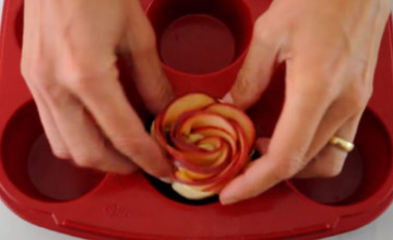 He Wraps Delicately Sliced Apples Into An Unusual Shape, Then Throws Them In The Oven. The result? Yummy!