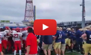 VIDEO: NYC Police & Firefighters Brawl At Charity Football Game!