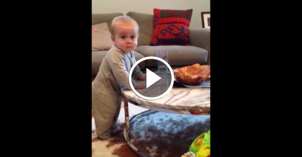 Mom Told Baby Not to Touch Glass of Water. His Response... ADORABLE
