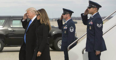 Watch what happened when Trump stepped off the plane