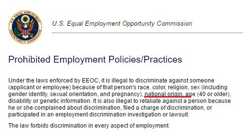 It is illegal to hire based on nationality
