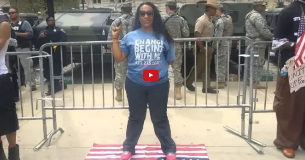 WATCH: Liberal Scumbag Steps on American Flag, Look Closely How US Soldiers Respond